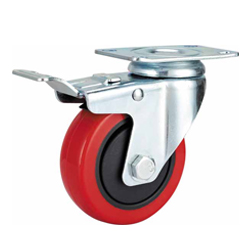 Medium Duty Red PU Caster Swivel Plate with Brake